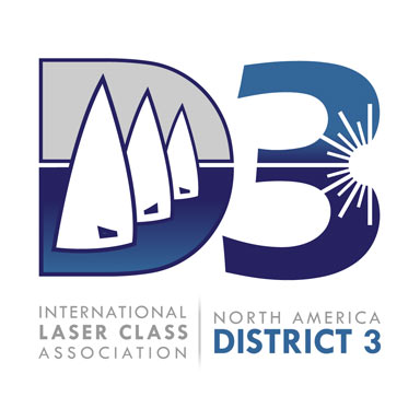 International Laser Class of North America: District 3: Logo Exhibiting the Laser Symbol and Three Laser Sail Sizes