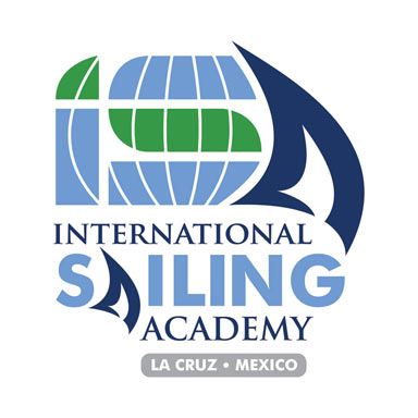 "International Sailing Academy: Logo Exhibiting Sail with ""ISA"" Initials and Global Element"