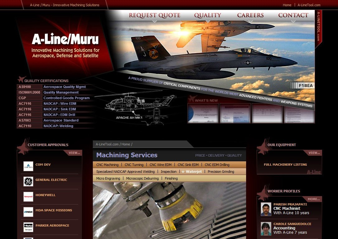 Screenshot: A-Line Muru Precision Machining Web Site