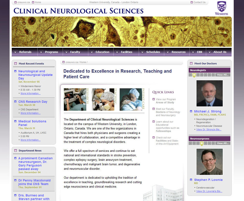 Screenshot: Clinical Neurological Sciences Web Site