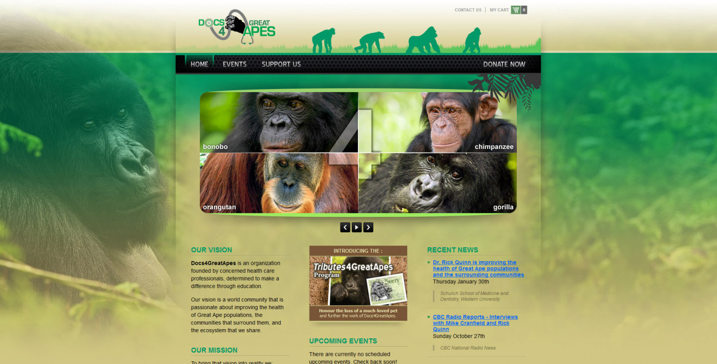 Screenshot: Docs4GreatApes Logo and Web Site