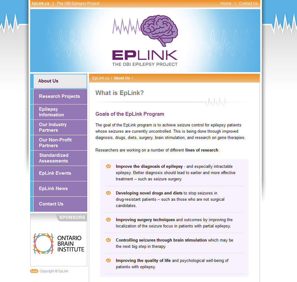 Screenshot: EpLink: The OBI Epilepsy Project Database and Web Site