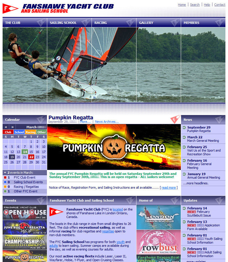 Screenshot: Fanshawe Yacht Club and Sailing School Web Site, Logos, Branding and Social Media