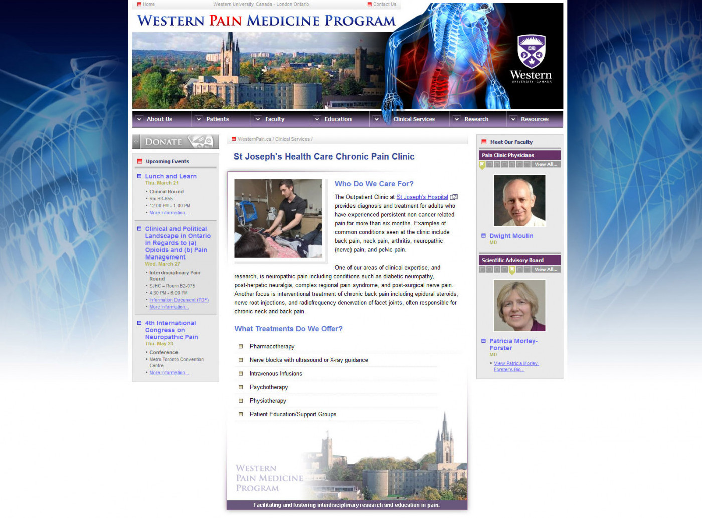 Screenshot: Western Pain Medicine Program Web Site